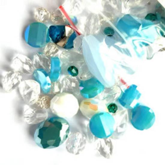 NEW! Premium Glass Facet Mix: Aqua/Clear