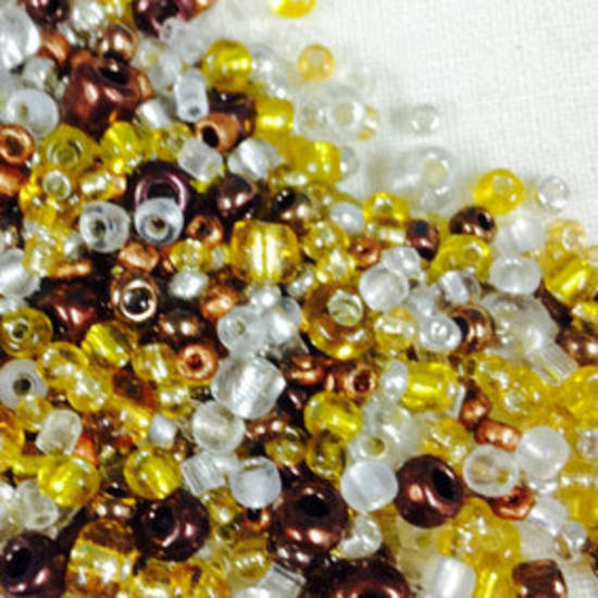 Seed Bead Mix, 25gm - silvers and golds