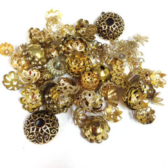 NEW! MIXED bead caps, larger golds