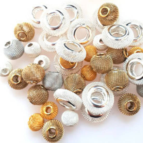 NEW! Metal Mix: Mesh Balls - silvers/gold