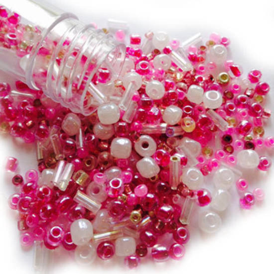 Seed Bead Mix, 15gm - PRETTY IN PINK
