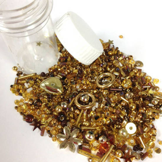 Seed Bead Mix, 15gm - GOLD RUSH