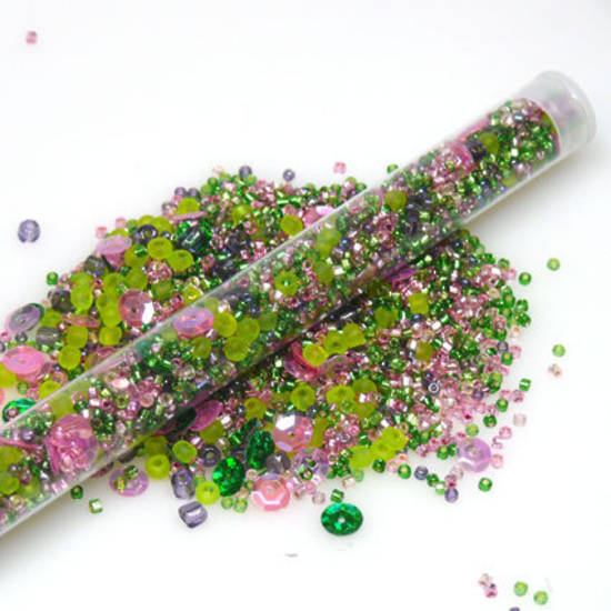 Seed Bead Mix, 25gm - pink & green