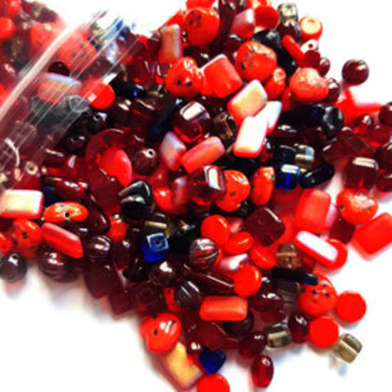 Pressed Glass Bead MIX: Red!