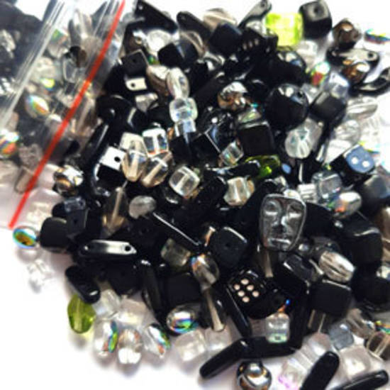Pressed Glass Bead MIX: Blacks