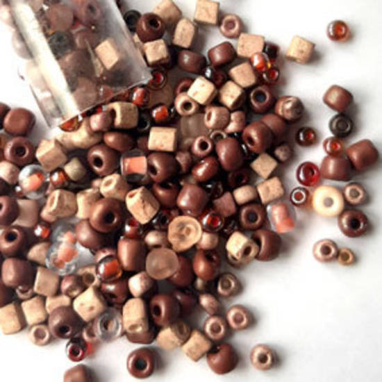 Seed Bead Mix, 25 grams - PEACHY BROWN