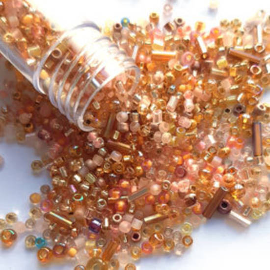NEW! Seed Bead Mix, 15gm - LIGHT GOLDEN PEACH