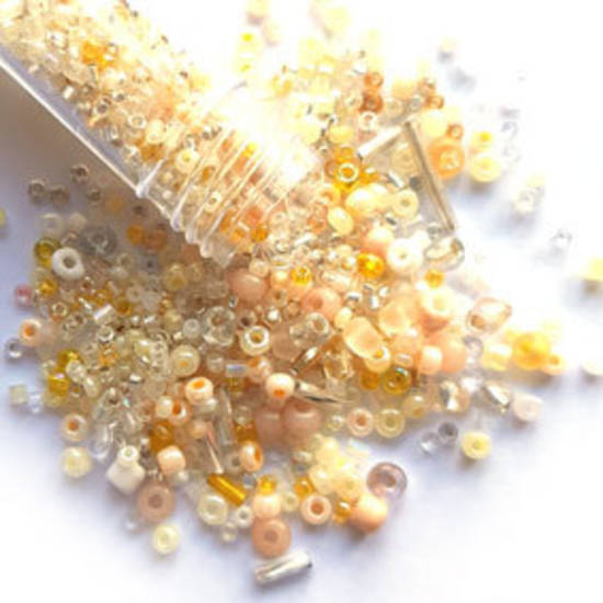 NEW! Seed Bead Mix, 15gm - LEMON CREAM