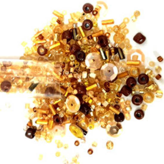 NEW! Seed Bead Mix, 25gm - softer gold and brown