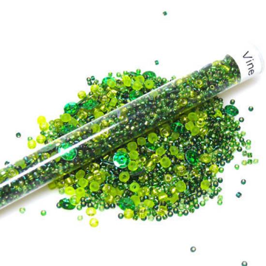Seed Bead Mix, 25gm - greens