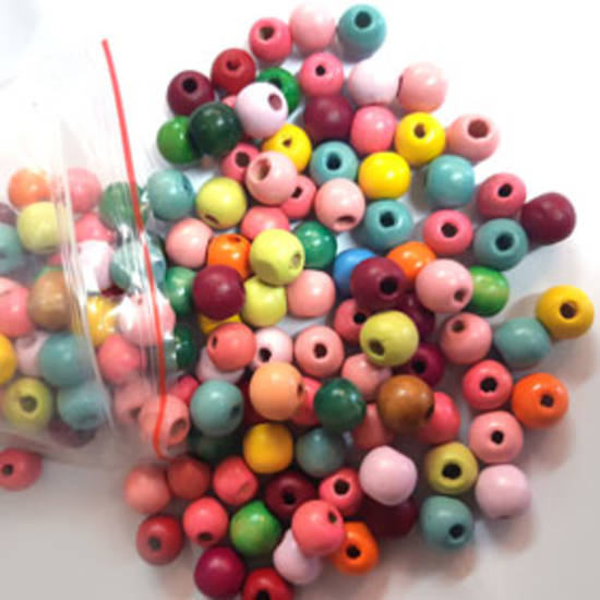 Wooden Bead MIX (approx 240):  12mm mixed colour