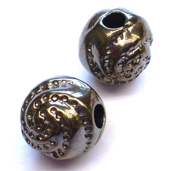 Metalised plastic, gunmetal ball with swirl design