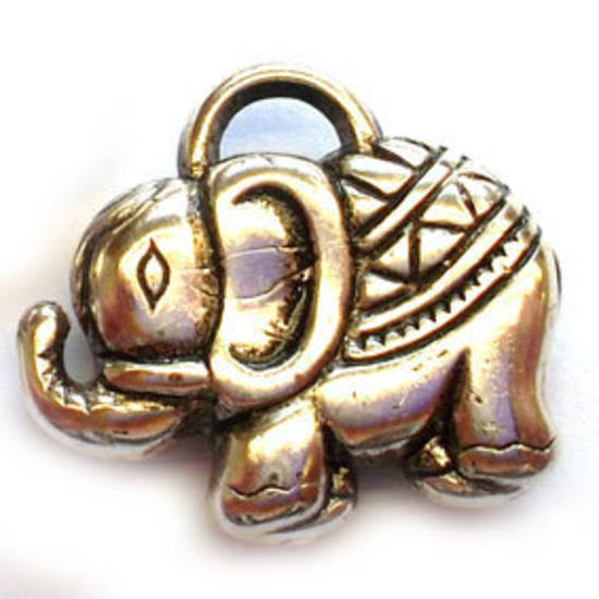 Acrylic Charm: Elephant - antique silver