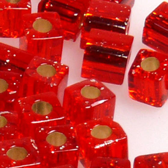 4mm Miyuki Square: 10 - Red, silver lined