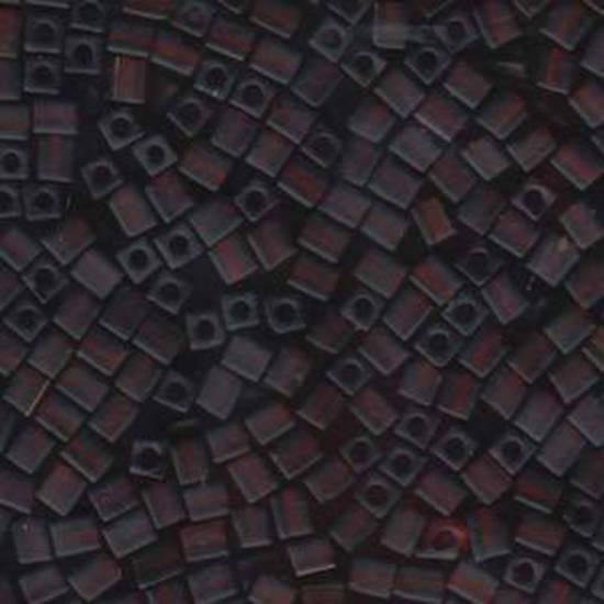 4mm Miyuki Square: 134F - Dark Amber, transparent frosted