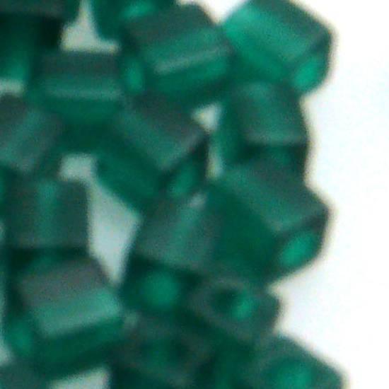 4mm Miyuki Square: 147F - Emerald, frosted