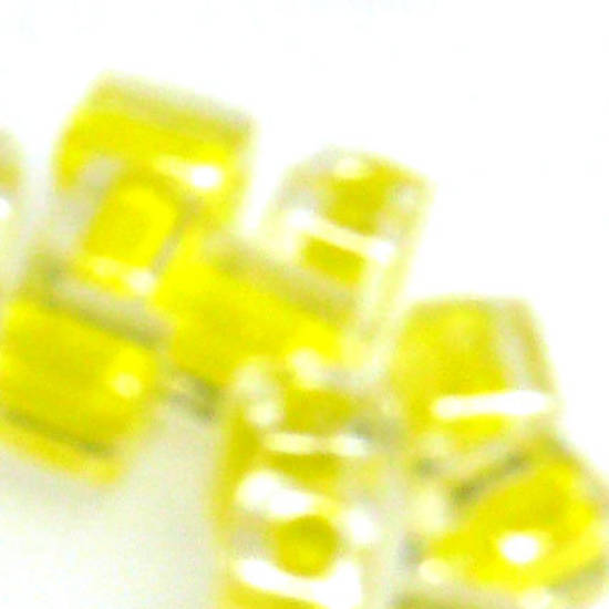 4mm Miyuki Square: 202 - Yellow/Clear, colour lined