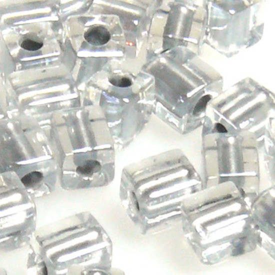 4mm Miyuki Square: 242 - Grey/Clear, colour lined