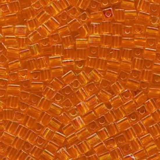 4mm Miyuki Square: 253 -  Rainbow Orange, transparent