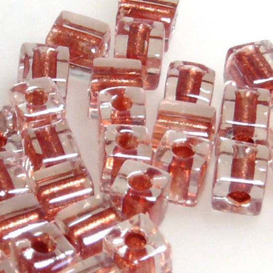 4mm Miyuki Square: 2601 - Rose/Clear, colour lined
