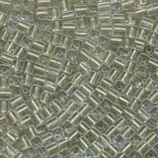 4mm Miyuki Square: 2604 - Metallic Light Green, colour lined