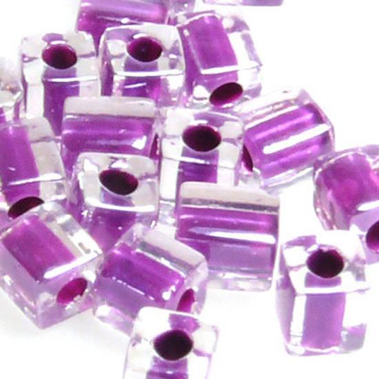 4mm Miyuki Square: 243 - Purple/Clear, colour lined