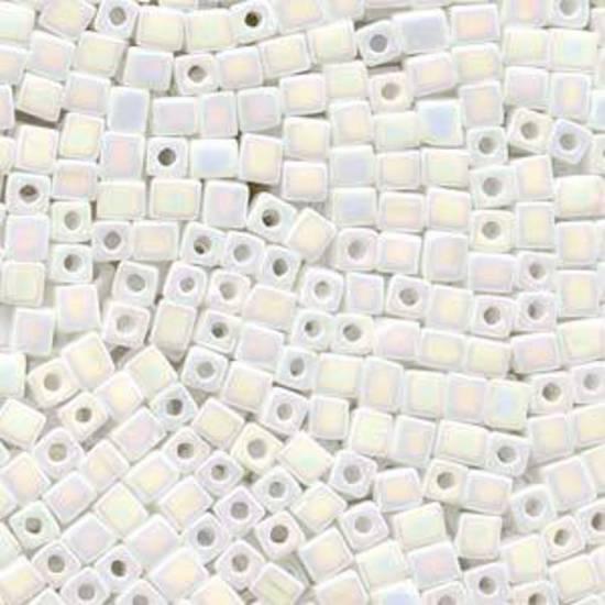 4mm Miyuki Square: 402R - Rainbow Opaque White