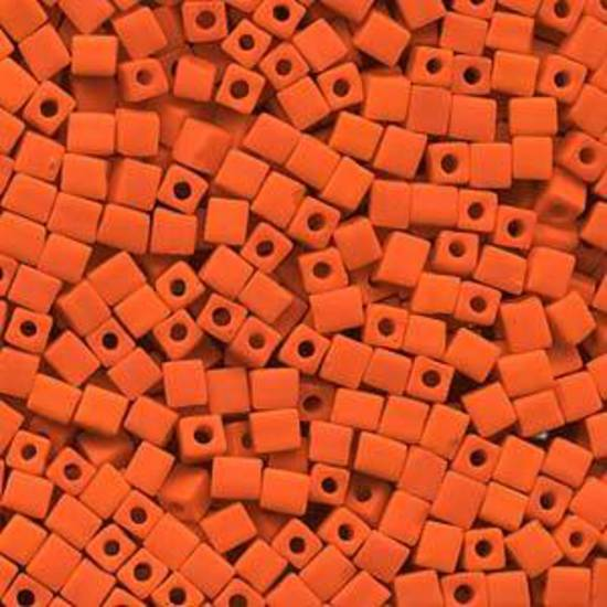 4mm Miyuki Square: 406F - Opaque Frosted Orange