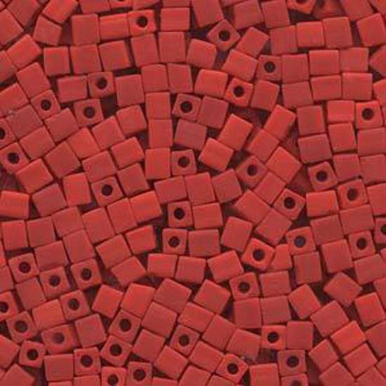 4mm Miyuki Square: 407F - Opaque Frosted Red