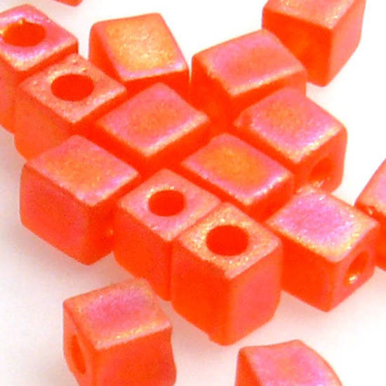 4mm Miyuki Square: R138F - Orange Rainbow Frosted