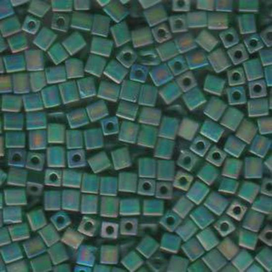 4mm Miyuki Square: R146F -  Transparent Frosted Rainbow Green