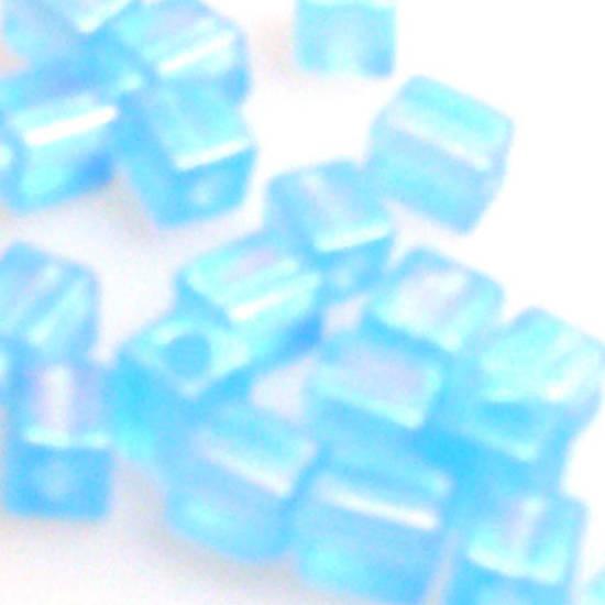 4mm Miyuki Square: R148F - Aqua Rainbow Frosted