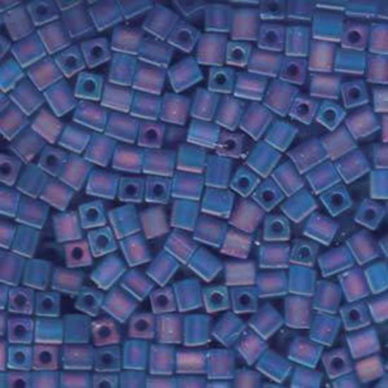 4mm Miyuki Square: R150F - Transparent Frosted Rainbow Sapphire