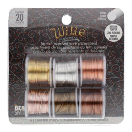 NEW! Beadsmith Craft Wire 20 gauge: 6 x mini spools - assorted colours