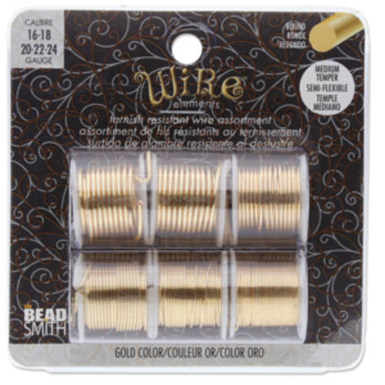 Beadsmith Craft Wire, Assorted Gold: 24-22-20-18-16 gauge.