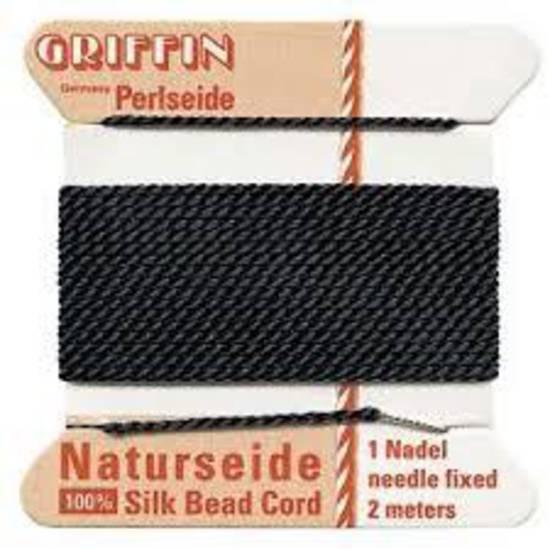 Griffin Silk Cord - Black - Size 3 (0.5mm)