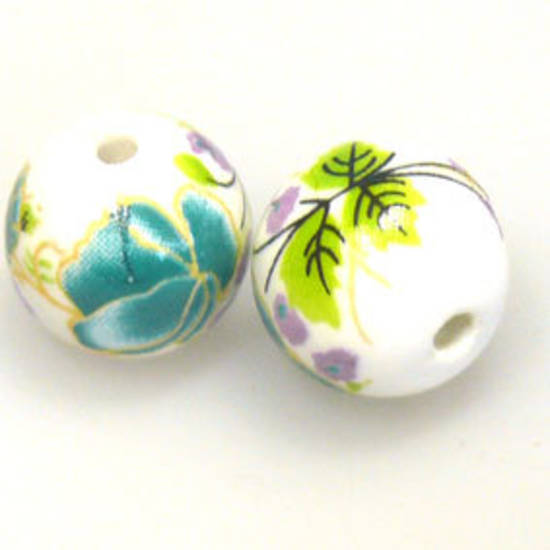 Porcelain Round Bead, 12mm. Teal, green and purple leaf/flower pattern