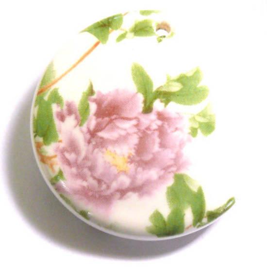 Large Porcelain Disc with domed middle,  40mm, pink rose pattern