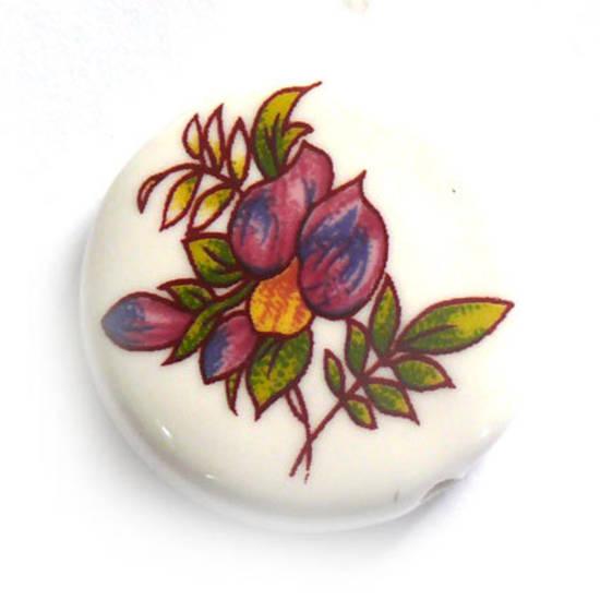 Porcelain Flat Disc, 25mm, purple/blue flower