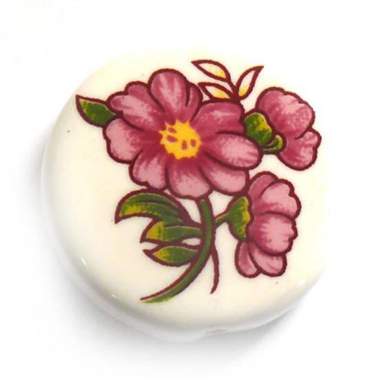 Porcelain Flat Disc, 25mm, pink flower