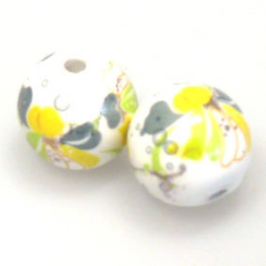 Porcelain Round Bead, 12mm. Yellow, grey, green flower and leaf pattern