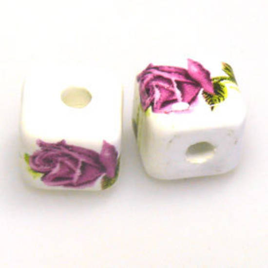 Porcelain Cube, 12mm, deep pink roses