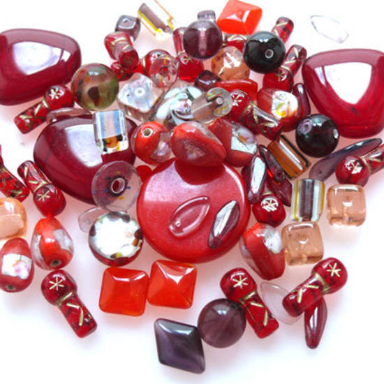 Pressed Bead Mix - Reds (larger beads)