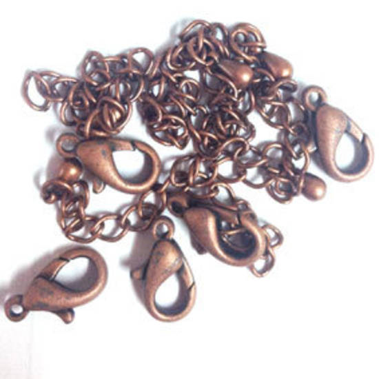 PARROT CLASP PACK, with extender chains - Antique Copper