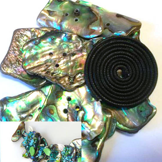 Base for Paua Bracelet - medium pieces: just add beads!