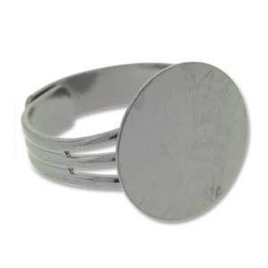 Adjustable Glue On Ring Base - GUNMETAL