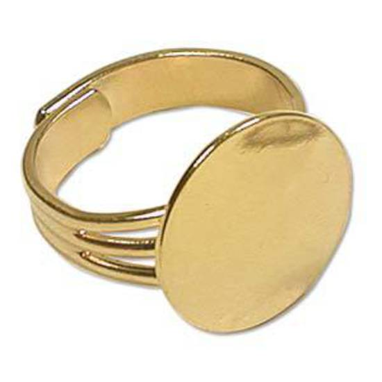 Adjustable Glue On Ring Base - GOLD