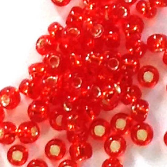 Toho size 11 round: 10 - Orangey Red, silver lined