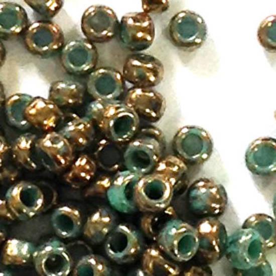 Toho size 11 round: 1703 - Colourwashed, Teal/Bronze