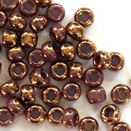 Toho size 11 round: 1704 - Light Purple, bronze colourwashed
